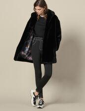 Faux Fur Coat : LastChance-ES-F40 color Black