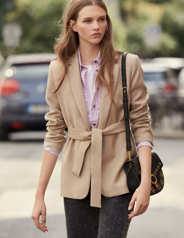 Long Wool Jacket With Belt : Coats color Beige