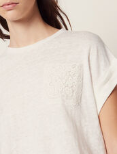 Cropped Linen T-Shirt : T-shirts color Ecru