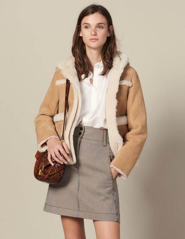 Short A-Line Skirt In Houndstooth : Skirts & Shorts color Camel