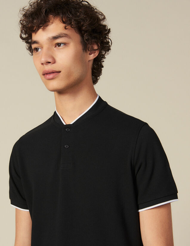 Polo shirt with contrasting collar : Winter Collection color Black