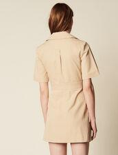 Short Safari-Style Dress : null color Sand