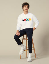 Slogan Sweatshirt In Unbrushed Fleece : Winter Collection color white