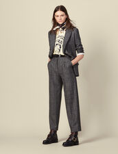 Wide-leg checked trousers : Pants color Grey