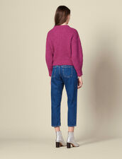 Knitted Sweater With Stitched Detail : Sweaters & Cardigans color Fushia