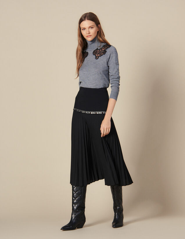 Long Pleated Wrapover Skirt : Skirts & Shorts color Black