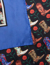 Silk Mini Cowboy Boot Print Scarf : Scarves color Blue