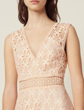 English Guipure Lace Midi Dress : null color Pink
