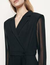 Long-sleeved dual-fabric dress : Dresses color Black