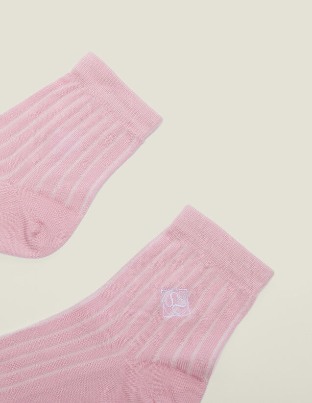 Embroidered Cotton Socks : null color Rose pastel
