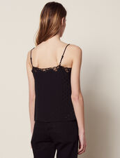 Tone-On-Tone Jacquard Lingerie Top : null color Black