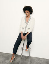 Wool and cashmere cardigan : Sweaters & Cardigans color Ecru