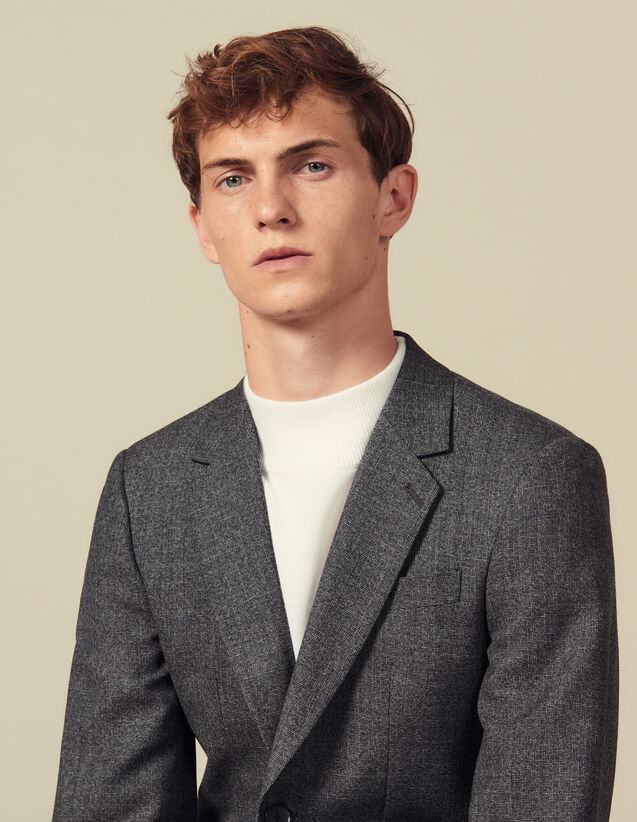 Marled wool suit jacket : Suits & Tuxedos color Mocked Grey