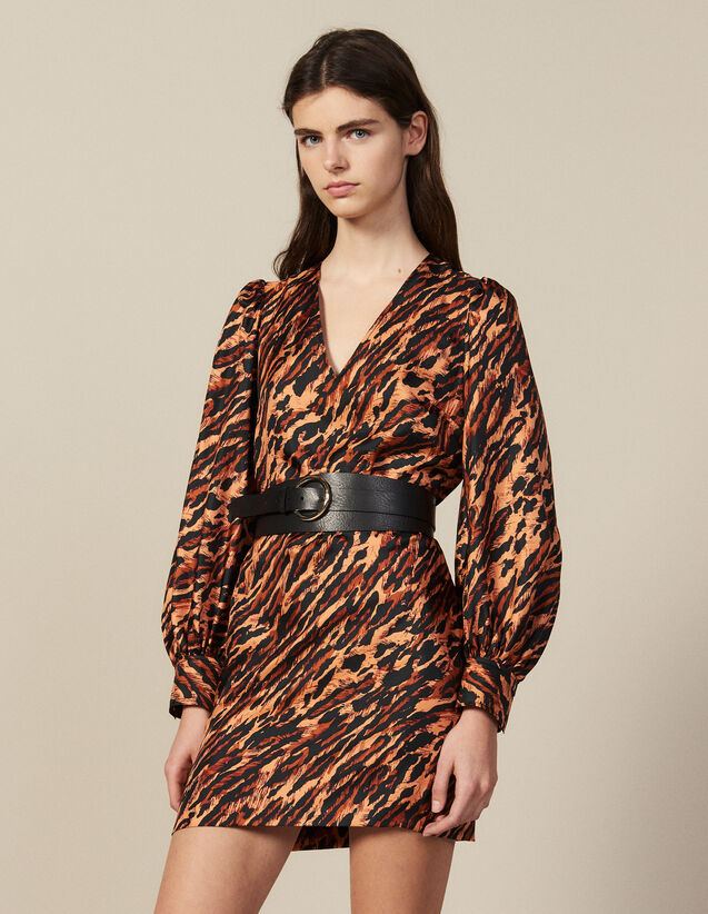 Short printed silk dress : Dresses color Wildcat (Fawn)