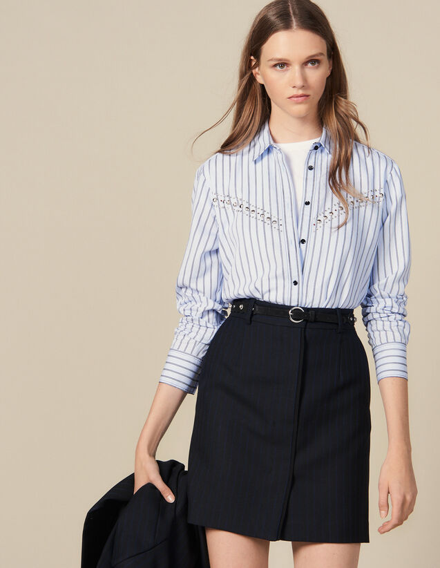 Pinstriped Tailored Short Skirt : Skirts & Shorts color Black
