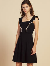 Short Dress With Frills Around The Arms : null color Black