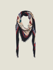 Printed Wool Scarf : null color Multi-Color