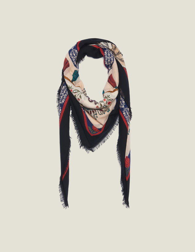 Printed Wool Scarf : Summer Collection color Multi-Color