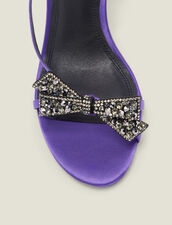 Satin sandals with rhinestone bow : LastChance-ES-F50 color Purple