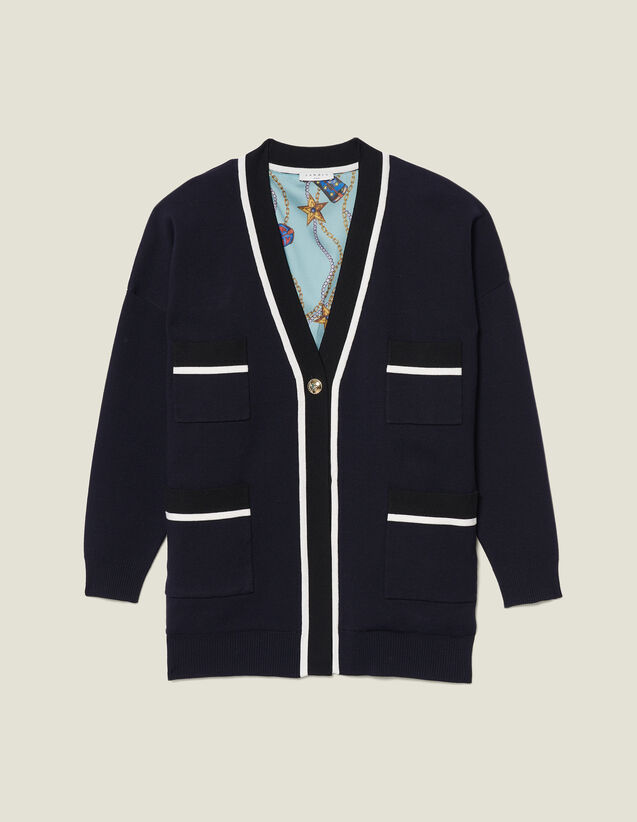 Cardi-Coat With Printed Lining : Sweaters & Cardigans color Navy Blue