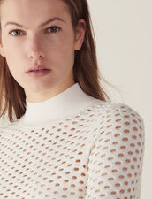 Long-Sleeved Mesh Sweater : Sweaters & Cardigans color white