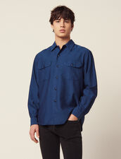 Flowing Herringbone Fabric Shirt : Sélection Last Chance color Blue