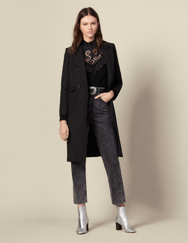 Long fitted wool coat : Coats color Black
