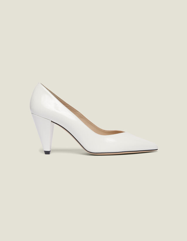 Glazed Leather Heeled Shoes : null color white