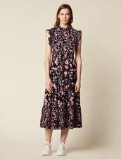 Long Printed Ruffled Dress : null color Black