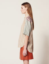 Striped Short-Sleeved Shirt : Printed shirt color Multi-Color