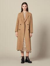 Long Double Faced Wool Coat : Coats color Beige