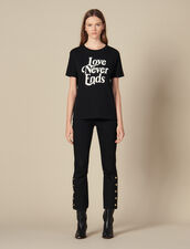 T-Shirt With Contrasting Lettering : T-shirts color Black