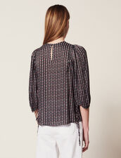 Printed Blouse With 3/4 Length Sleeves : null color Black