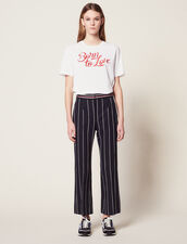 Trousers With Contrasting Stripes : Pants color Navy Blue