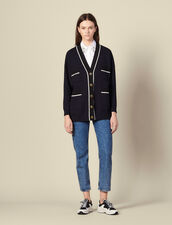Cardi-coat with printed lining : LastChance-ES-F20 color Navy Blue