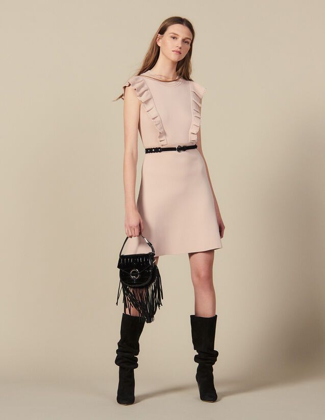 Rib-Knit Dress Trimmed With Beads : New In color Nude