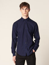 Shirt In Tone-On-Tone Herringbone Fabric : SOLDES-CH-HSelection-PAP&ACCESS-2DEM color Navy Blue