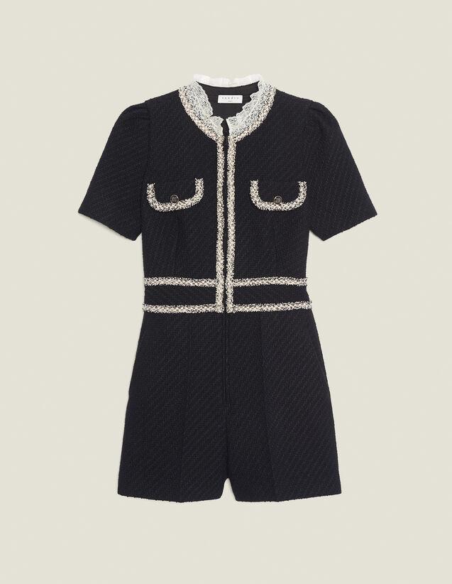 Tweed playsuit : Jumpsuits color Black