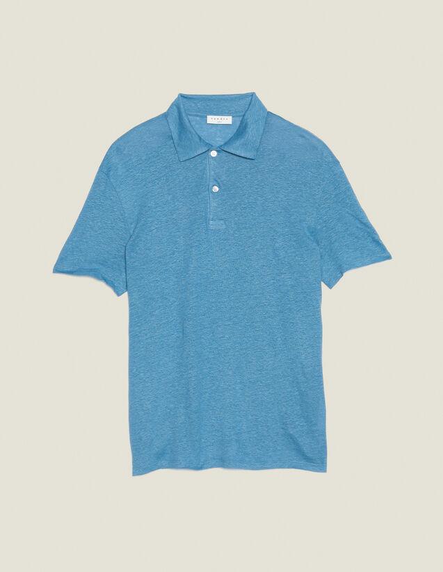 Short-Sleeved Linen Polo Shirt : T-shirts & Polo shirts color Light Blue