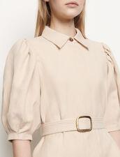 Coat dress in cotton and linen : Dresses color Beige