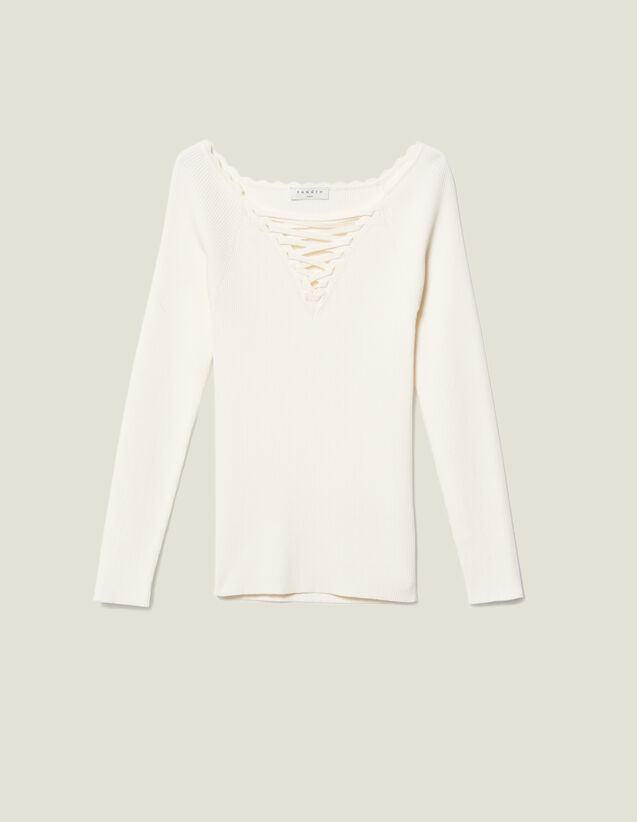 Sweater With Lace Up Neckline by Sandro Paris