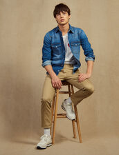 Straight-Leg Chino Trousers : Pants & Shorts color Beige