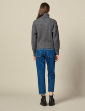 Roll Neck Marled Knit Sweater : LastChance-ES-F30 color Grey