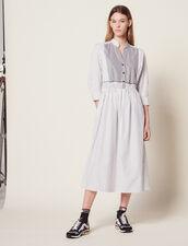 Striped Cotton Midi Dress : null color white
