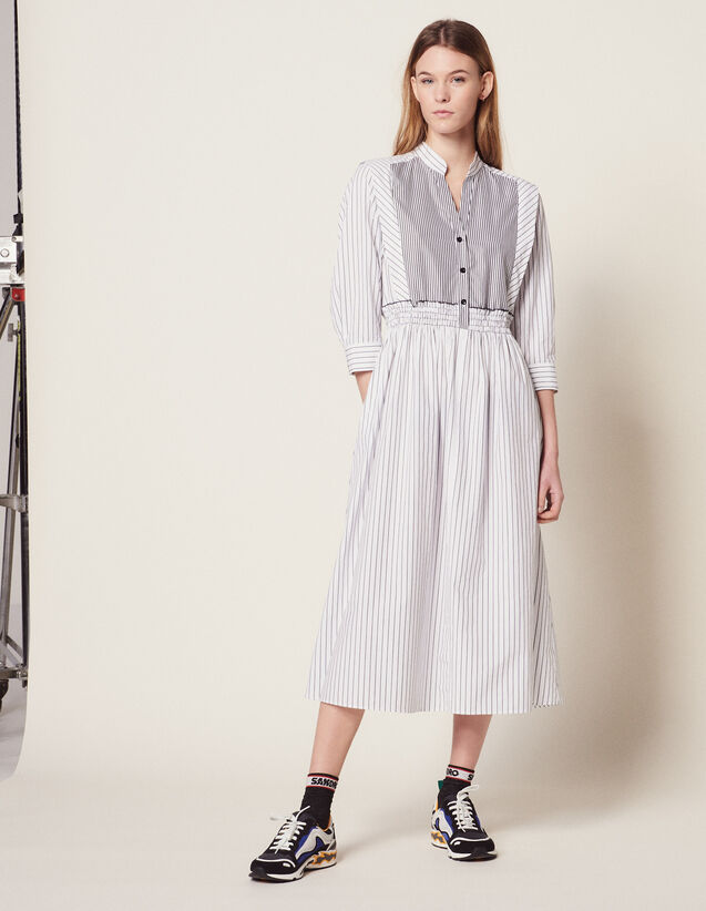 Striped Cotton Midi Dress : null color white