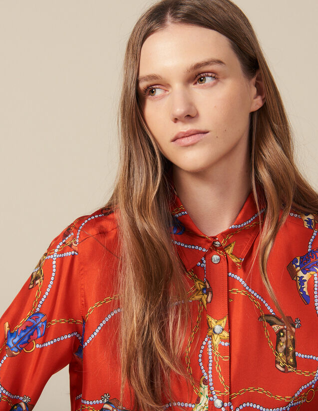 Printed Silk Twill Shirt : Tops & Shirts color Red