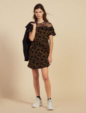 Short Printed Dress With Lace : null color Black