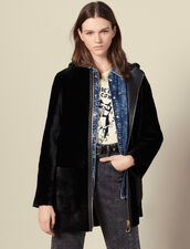 Sheepskin coat with leather placket : Coats color Black