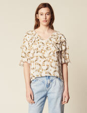 Flowing Printed Top : null color Ecru