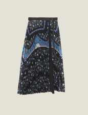 Wraparound Skirt With Sunray Pleating : null color Blue